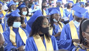 A section of the 150 graduands of the Charlestown Secondary School Graduating Class of 2020 at their graduation ceremony at the Nevis Cultural Village on December 08, 2020