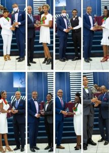 Eight Nevisian youths receive the Ministry of Youth Empowerment's 25 Most Remarkable Teens in St. Kitts and Nevis 2020/2021 Awards at a special sitting of the National Assembly at the Rivers of Living Water Christian Centre at Lime Kiln, Basseterre, on November 26, 2020. (Top row) Nykeisha Henry with Hon. Mark Brantley, Nevis Premier, MP for Nevis #9; Elyse Thomas with Hon. Eric Evelyn, MP for Nevis #10; Keijarie Huggins with Hon. Mark Brantley; and Vanessa Simon with Hon. Mark Brantley. (Bottom row) Shai-Ann Tyson with Hon. Eric Evelyn; Terron Webb with Hon. Mark Brantley; Roddena Dacosta with Hon. Jonel Powell MP for Constituency #2; Gregory McGrath with Hon. Dr. Denzil Douglas, Leader of the Opposition and MP for Constituency #6