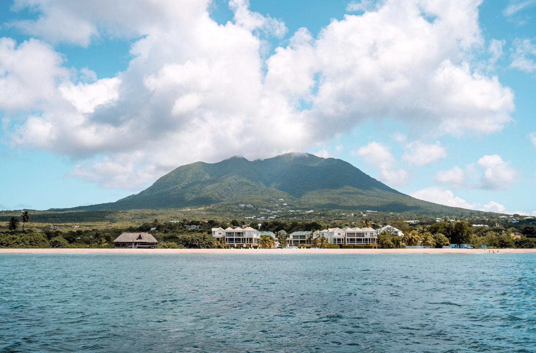 The view of Nevis from the Caribbean Sea with Mt. Nevis in the backdrop (photo provided