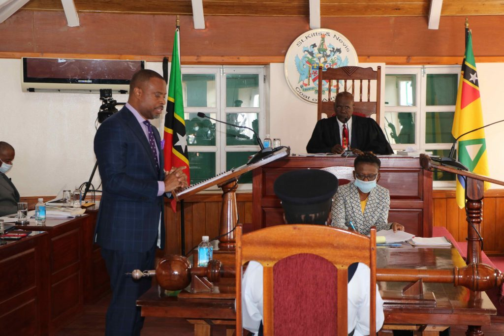 Hon Mark Brantley, Premier of Nevis delivering the 2020 Budget Address at Hamilton House before Hon. Farrel Smithen, President of the Nevis Island Assembly on December 08, 2020