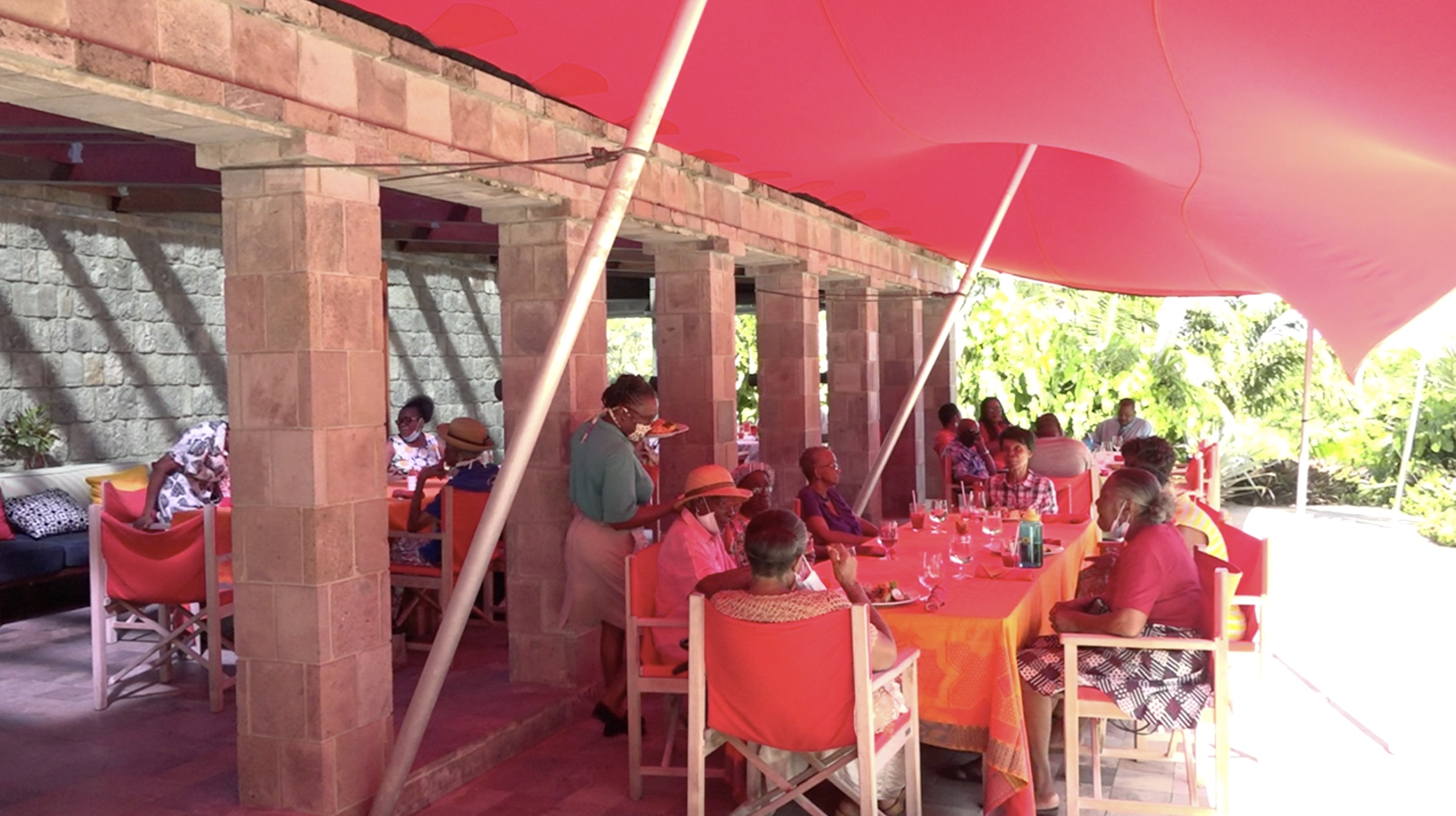 Seniors from the Hanley's Road community at an annual Christmas luncheon at the Golden Rock Inn on December 01, 2020, sponsored by the Empire Sports Club and the Ministry of Social Development