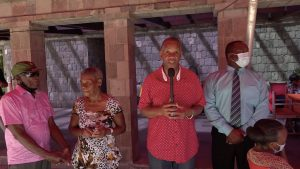 (L-r) Seniors from the Hanley's Road community Mr. Rueben Williams and Mrs. Mildred Tyson with Hon. Eric Evelyn, Minister of Community Development in the Nevis Island Administration and President of the Empire Sports Club; and Mr. Keith Glasgow, Permanent Secretary in the Ministry of Social Development at the Christmas luncheon for seniors from the Hanley's Road community at the Golden Rock Inn on December 01, 2020