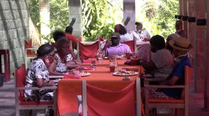 A section of the seniors from the Hanley's Road community at an annual Christmas luncheon at the Golden Rock Inn on December 01, 2020, sponsored by the Empire Sports Club and the Ministry of Social Development