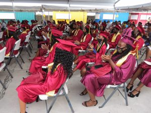 Some of the 53 graduands of the Nevis Sixth Form Graduating Class of 2020 at the Graduation Ceremony at the Graduation Ceremony at the Nevis Cultural Village on December 08, 2020 (photo by Lester Blackett)