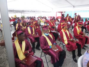 Another section of the 53 graduands of the Nevis Sixth Form Graduating Class of 2020 at the Graduation Ceremony at the Graduation Ceremony at the Nevis Cultural Village on December 08, 2020 (photo by Lester Blackett)