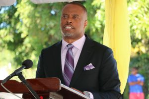 Hon. Mark Brantley, Premier of Nevis and Minister of Finance in the Nevis Island Administration delivering remarks at the ceremony to commission the New Castle Police Station and Fire Unit on December 03, 2020