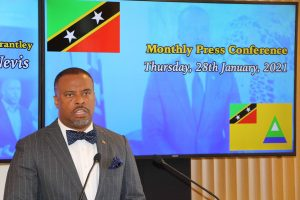 Hon. Mark Brantley, Premier of Nevis at his monthly press conference in Cabinet room at Pinney's Estate on January 28, 2021
