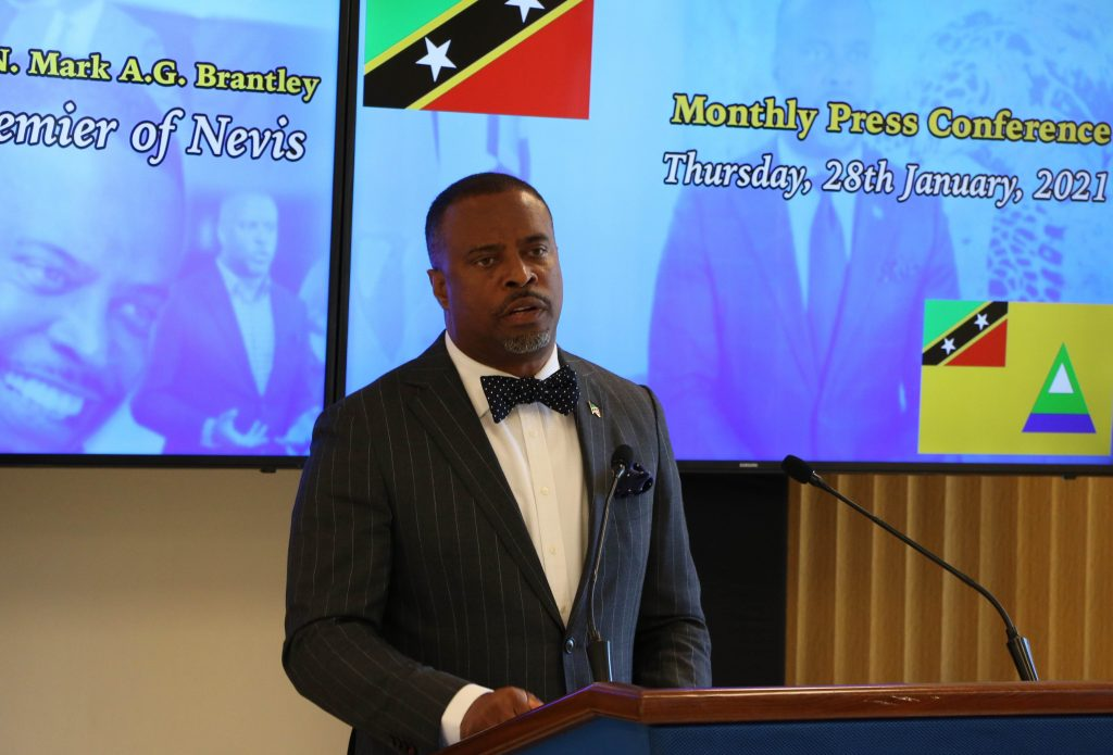 Nevis Premier, Hon. Mark Brantley, Minister of Finance and Foreign Investment in the Nevis Island Administration, presenting at his January 28, 2021, press conference