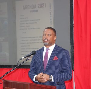 Hon. Mark Brantley, Premier of Nevis and Minister of Finance in the Nevis Island Administration delivering remarks at the Ministry of Agriculture's Agenda 2021 forum on January 19, 2021, at the St. Pauls Anglican Church Hall in Charlestown