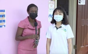 Mrs. Renell Daniel, School Meals Coordinator in the Department of Education of the Nevis Island Administration, and Ms. Wendy Tsai, a nutritionist from Taiwan working with the School Meals Programme