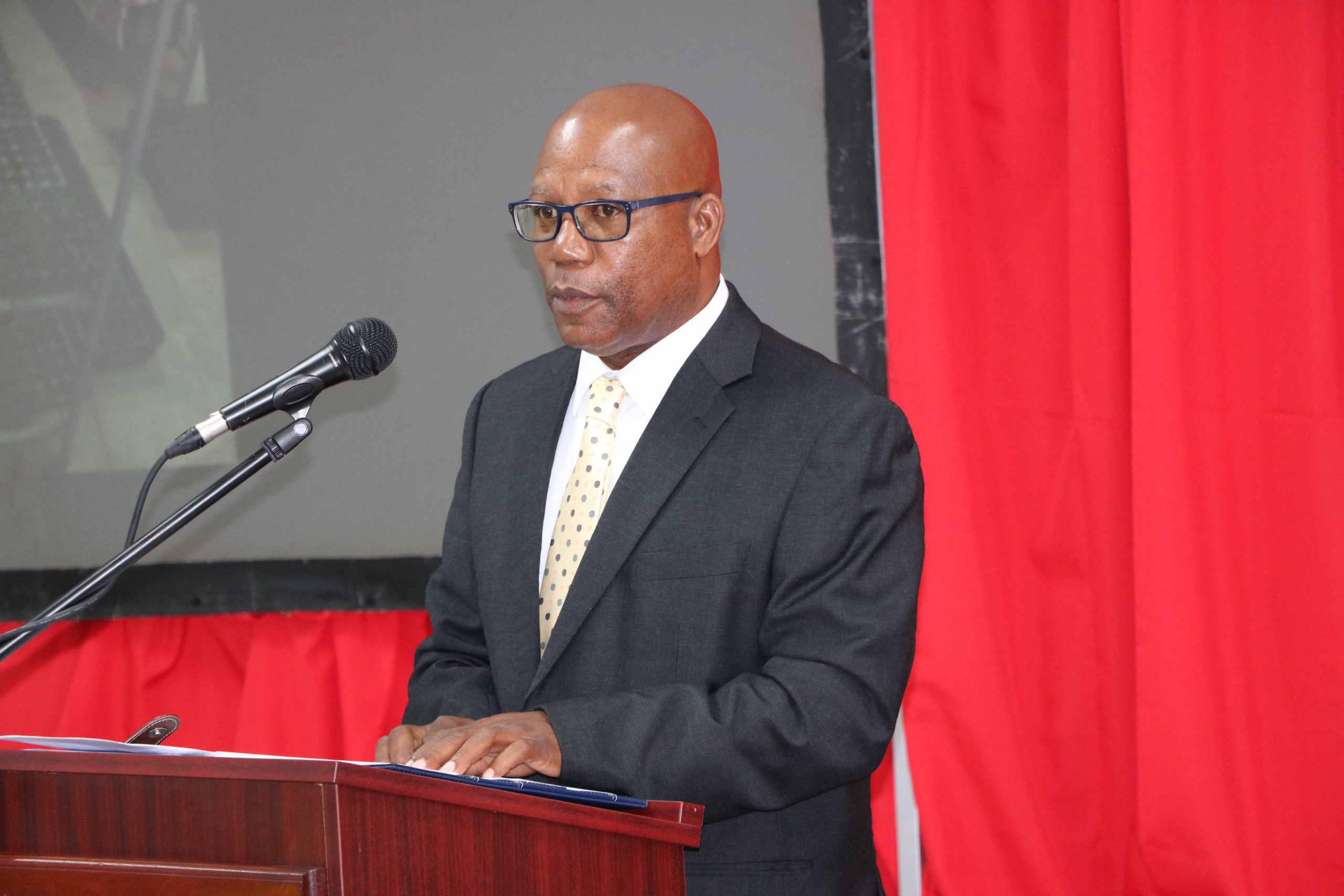 """Mr. Mc Levon """"Mackie"""" Tross, Owner and Manager of A-1Farms in Gingerland, delivering remarks as the featured speaker at the Ministry of Agriculture's Agenda 2021 forum at the St. Paul's Anglican Church Hall on January 19, 2021"""