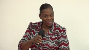 Ms. Lorraine Archibald, Coordinator of the Gender Affairs Division in the Ministry of Social Development in the Nevis Island Administration, at the launch of the Gender Affairs web development boot camp on January 09, 2021, at the Gender Affairs Division conference room in Charlestown