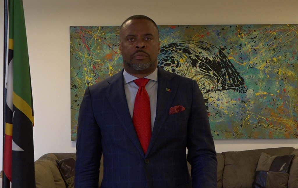 Hon. Mark Brantley, Minister of Foreign Affairs for St. Kitts and Nevis as he leads a delegation to the inaugural Meeting of the Caribbean Community (CARICOM)-Canada Foreign Ministers' Group, held virtually on February 19, 2021
