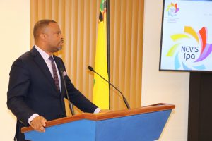 Hon. Mark Brantley Premier of Nevis and Minister of Finance and Foreign Investment delivering remarks at the Nevis Investment Promotion Agency's new website launch on February 02, 2021, in Cabinet Room at Pinney's Estate