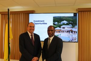 (L-r) Mr. Jacob Katsman, Project Manager of the Nevis Island Administration's Digital Platform and Mr. Colin Dore, Permanent Secretary in the Ministry of Finance on Nevis at the launch of the Nevis Investment Promotion Agency's new website on February 02, 2021, in the Cabinet Room at Pinney's Estate