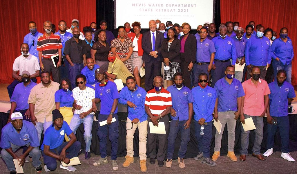 Hon. Spencer Brand Minister responsible for Water in the Nevis Island Administration with management and staff at the Nevis Water Department Staff Retreat 2021 on February 02, 2021 at the Nevis Performing Arts Centre