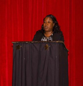 Ms. Tonya Bartlette, Manager of the Nevis Water Department delivering remarks at a retreat for staff at the Nevis Performing Arts Centre recently