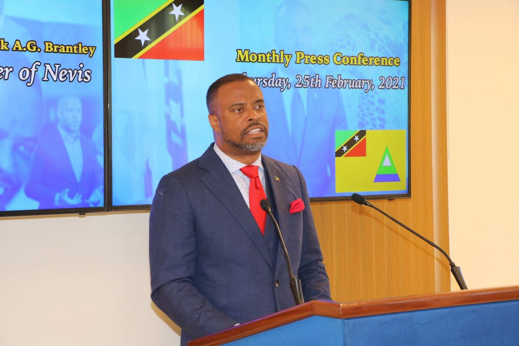 Hon. Mark Brantley, Premier of Nevis at his monthly press conference in Cabinet Room at Pinney's Estate on February 25, 2021