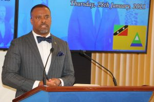 Hon. Mark Brantley, Premier of Nevis at his monthly press conference on January 28, 2021, in Cabinet Room at Pinney's Estate