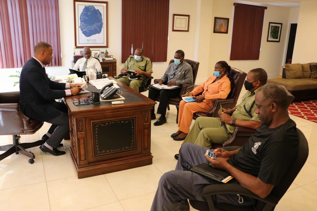 (L-r) Hon. Mark Brantley, Premier of Nevis (at desk); Mr. Wakely Daniel, Permanent Secretary in the Premier's Ministry; Superintendent Lyndon David, Royal St. Christopher and Nevis Police Force Divisional Commander for District 'C'; Inspector Alonzo Carty; Inspector Urita Collins-Percival; Inspector Reynold Myers; and Inspector James Stephens at a security briefing at the Office of the Premier at Pinney's Estate on February 02, 2020