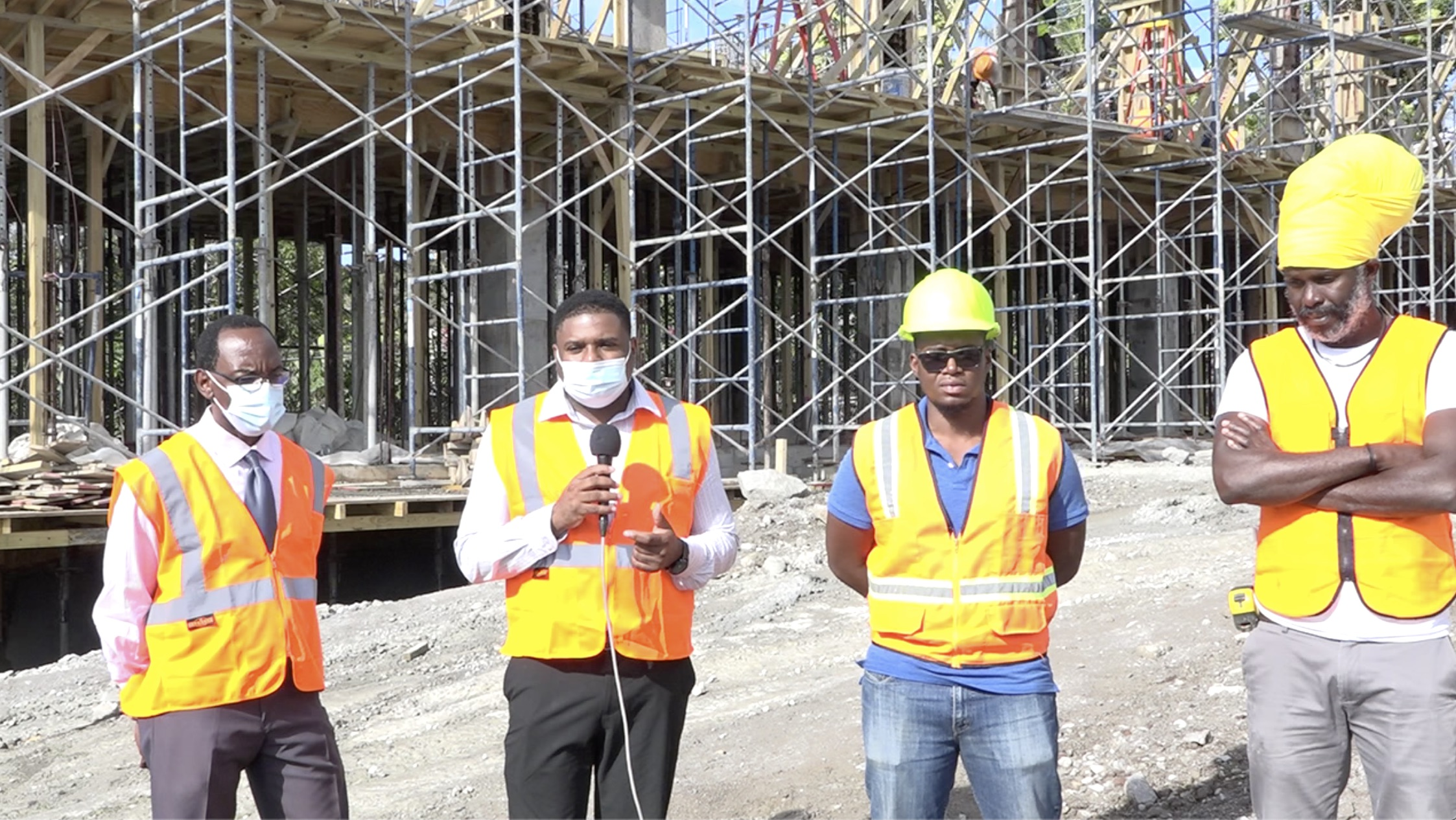 (L-r) Mr. Kevin Barrett, Permanent Secretary in the Ministry of Education; Hon. Troy Liburd, Junior Minister of Education in the Nevis Island Administration; Mr. Darius Comberbatch, Engineer for FDL Consult Inc. in St. Lucia, Consultants for the project; and Mr. Oswald Wilfred, Construction Manager for Lefco Equipment Rental and Construction Company, contractor for the construction of the state-of-the-art Technical Wing at the Gingerland Secondary School during a site visit on February 08, 2021