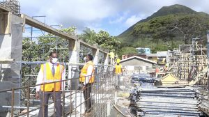 Mr. Kevin Barrett, Permanent Secretary in the Ministry of Education; and Hon. Troy Liburd, Junior Minister of Education in the Nevis Island Administration taking a first hand look at construction of the state-of-the-art Technical Wing at the Gingerland Secondary School during a site visit on February 08, 2021