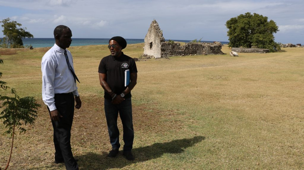 (l-r) Mr. John Hanley, Permanent Secretary in the Ministry of Tourism in the Nevis Island Administration and Heritage Team leader Mr. Sylvester Meade at Fort Charles Heritage Site on the southern outskirts of Charlestown recently