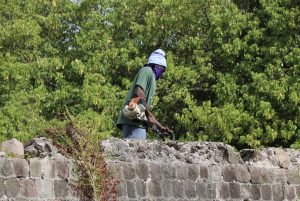 Mr. Jamie Parry a member of the Heritage Team in the Ministry of Tourism in the Nevis Island Administration at work at the Fort Charles Heritage Site recently
