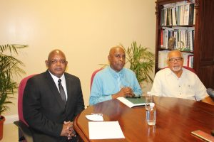 (L-r) Mr. Albert Gordon, the new General Manager of the Nevis Electricity Company Limited; Mr. Stedmond Tross, Chairman of the Board of Directors of the Nevis Electricity Company Limited; and Mr. Elford Felix, Generation Management Consultant and interim General Manager of the Nevis Electricity Company Limited at the company's Board Room on February 22, 2021
