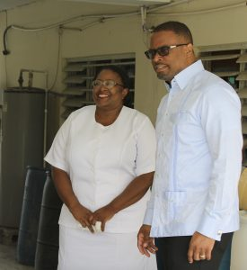 Mrs. Jessica Scarborough, Assistant Matron at the Alexandra Hospital accompanying Hon. Mark Brantley, Premier of Nevis and Minister of Health during a tour of the Alexandra Hospital (file photo)