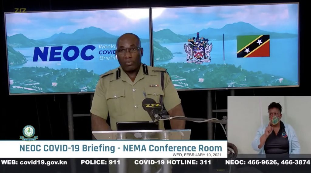 Superintendent Cromwell Henry, Divisional Commander for District 'A' in the Royal St. Christopher and Nevis Police Force making his presentation at the weekly National Emergency Operation Centre COVID-19 briefing on February 10, 2021, at the National Emergency Management Agency's conference room in St. Kitts