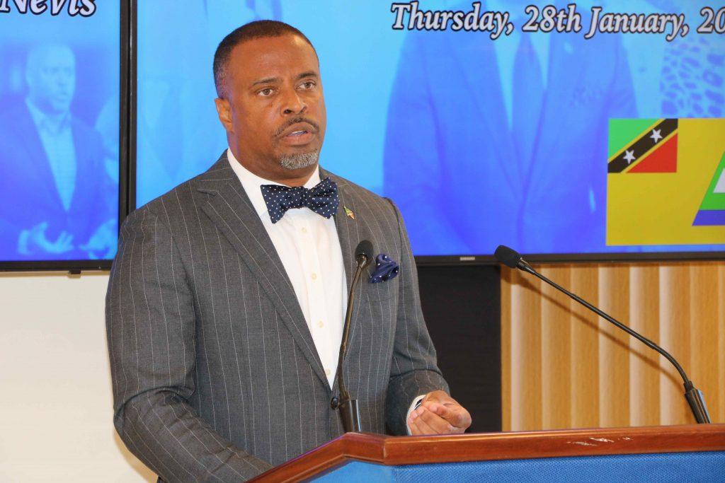 Hon. Mark Brantley, Premier of Nevis at his monthly press conference in January (file photo)