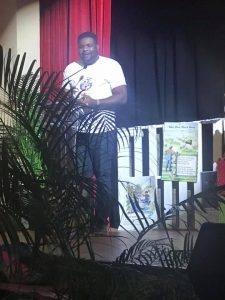"""Hon. Troy Liburd, Junior Minister of Education and Library Services participating in the first production of """"Read with me"""", hosted by Early Childhood Sector of the Department of Education on January 27, 2021 at the Nevis Performing Arts Centre"""