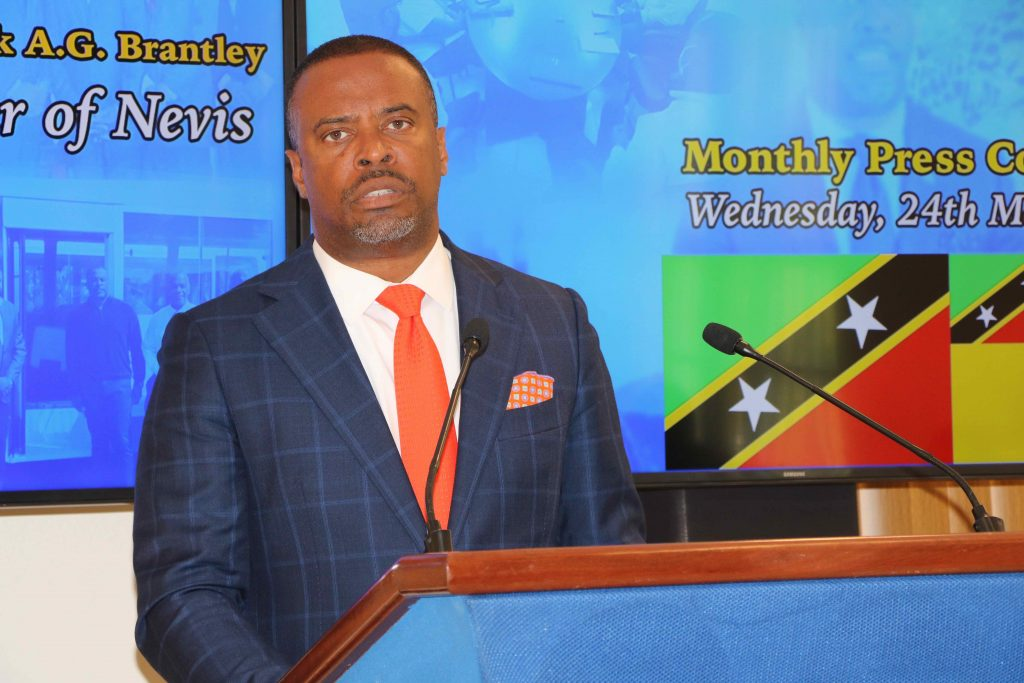 Hon. Mark Brantley, Premier of Nevis at his monthly press conference in Cabinet Room at Pinney's Estate on March 24, 2021
