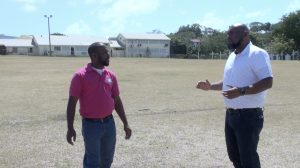 (L-r) Mr. Steve Reid, Chief Extension Officer in the Department of Agriculture and Mr. Huey Sargeant, Permanent Secretary in the Ministry of Agriculture on Nevis visiting the Villa Grounds in Charlestown on March 19, 2021, the venue for Agrofest on March 26
