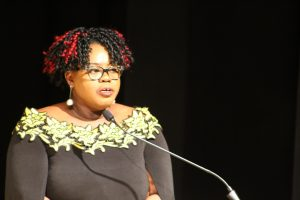 Hon. Hazel Brandy Williams, Junior Minister in the Ministry of Health and Gender Affairs in the Nevis Island Administration delivering remarks at the ministry's Women's Month Awards Ceremony on March 25, 2021 at the Nevis Performing Arts Centre