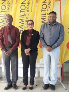 (l-r) Mr. Kevin Barrett, Permanent Secretary in the Ministry of Education; Ms. Oksana Williams, Representative from sponsor Hamilton Reserve Bank and Hon. Troy Liburd, Junior Minister of Education in the Nevis Island Administration at the opening ceremony of ministry's three-day Kite Making Workshop at the Elizabeth Pemberton Primary School for public primary school students on Nevis on March 29, 2021