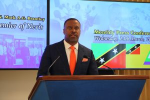 Hon. Mark Brantley, Premier of Nevis at his monthly press conference in Cabinet Room at Pinney's Estate of March 25, 2021