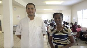 Chef Michael Henville, Executive Chef and Food and Nutrition Specialist with the School Meals Programme and Mrs. Renell Daniel, School Meals Coordinator in the Department of Education at the Charlestown Primary School's cafeteria on March 10, 2021,  ahead of the first training session for cooking staff at the primary schools on Nevis