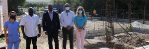 Dr. Danielle Heyne-Zuliani, Veterinarian; Hon. Alexis Jeffers, Deputy Premier of Nevis; Hon. Mark Brantley, Premier of Nevis; Hon. Spencer Brand, Minister of Public Works; and Mrs. Janice Jensen, Founder and Director of Nevis Animal Speak at the construction site of a multi-million dollar veterinary medical clinic in Clifton's Estate, Nevis on March 05, 2021.