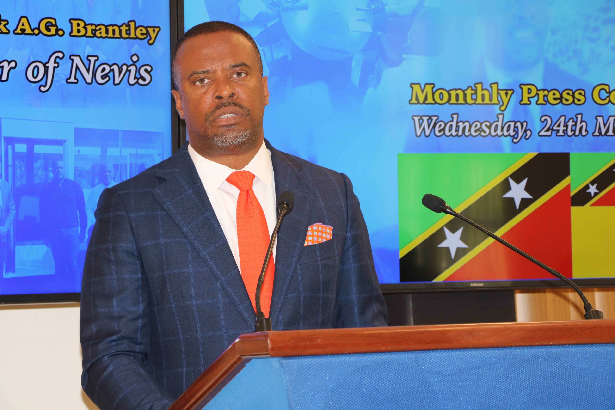 Hon. Mark Brantley, Premier of Nevis addressing the media at an earlier press conference in Cabinet Room at Pinney's Estate