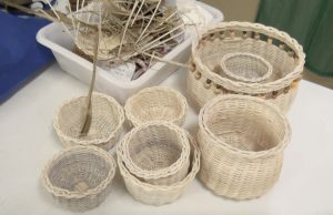 Baskets made by a participant at the Department of Gender Affairs' three-week Basket Weaving Workshop for women at the Pond Hill Community Centre on April 22, 2021