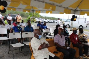 A section of those present at the Nevis Air & Sea Ports Authority's ceremony at Long Point on March 31, 2021, to honour retiring staff members
