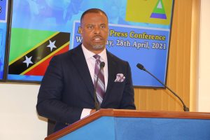 Hon. Mark Brantley, Premier of Nevis, at his monthly press conference in Cabinet Room at Pinney's Estate on April 28, 2021