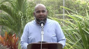 Mr. Huey Sargeant, Permanent Secretary in the Ministry of Tourism delivering remarks at the launch of the Nevis Garden Competition on April 16, 2021, at the Nevisian Heritage Village in Gingerland