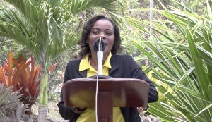 Ms. Vanessa Webbe, Tourism Education Officer in the Ministry of Tourism and head of the Community Tourism team chairperson at the launch of the Nevis Garden Competition on April 16, 2021, at the Nevisian Heritage Village in Gingerland