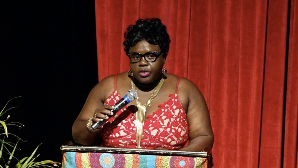 Hon. Hazel Brandy-Williams, Junior Minister of Health in the Nevis Island Administration, delivering remarks at the Recognition and Cocktail Ceremony hosted by the Nevis Nurses Association at the Nevis Performing Arts Centre on May 15, 2021