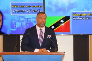 Hon. Mark Brantley, Premier of Nevis at his April 2021 press conference in Cabinet Room at Pinney's Estate