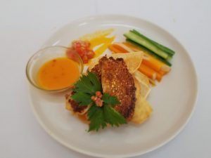Almond Crusted Tilapia with Dasheen Chips, the winning dish by Ms. Jermella Browne at the Ministry of Tourism's first Creative Seafood Dish Competition on May 03, 2021