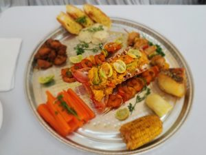 Mixed Grilled Seafood Platter by Ms. Davinsia Bartlette who placed second in the Ministry of Tourism's first Creative Seafood Dish Competition on May 03, 2021